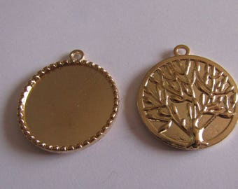 gilded pendant, for cabochon 25mm, for jewelry, accessory, keychain
