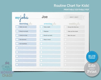 Blue - Routine Chart for Kids | Morning, Evening, Weekly Jobs | Daily Routine | Kids Rewards Chart | Checklist | Editable PDF Download