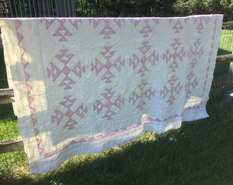 Pink and White Beige Vintage Quilt 83x76
