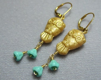 Golden Owl & Bellflower earrings - wonderful gold-washed Czech glass owl with tiny turquoise or purple  glass flowers - free shipping USA