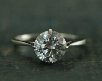 Filigree Engagement Ring--14K White Gold Engagement Ring--NSEW Prong Setting--Moissanite Engagement Ring--Forever One Moissanite Ring