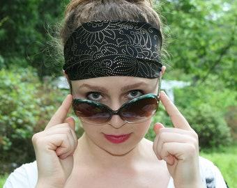 Paisley Headband, Gold Headband, Glitter Headband, Black Headband, Yoga Headband, Wide Headband, Workout Headband, MAJESTIC