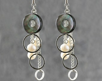 Black shell pearl dangling chandelier earrings Bridesmaids gifts Free US Shipping handmade Anni Designs