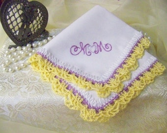Mother of the Bride, Mother of the Groom, Handkerchief, Hanky, Hankie, Hand Crochet, Lace, Lacy, Yellow, Lavender, Mom, Mother, Ships quick