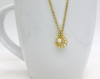 Moon Star Necklace, Crescent Moon Star Necklace, Pearl Moon Star Necklace, Gold Moon Star Necklace, Moon Star Jewelry