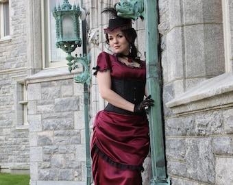 Steampunk Wedding Dress   La Contessa   Colored Wedding Gown, Steampunk Bridal Gown, Satin Wedding Dress, Alternative Wedding Dress