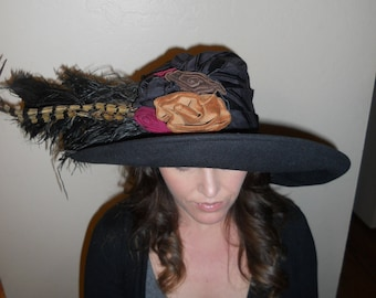 Vintage Church Kentucky Derby Statement hat with ostrich pheasant feathers size medium Whittall & Shon