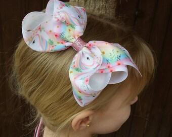 "Unicorn hair bow, large 5"", boutique, ribbon,pastel, pink, rainbow, pony,party bow, multi coloured,birthday gift, Uk"