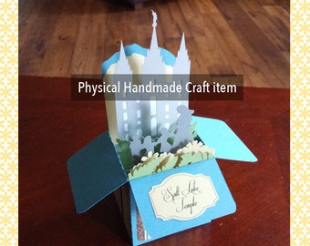 LDS (Mormon) Salt Lake Temple Box Gift Card with statue in front of temple physical handcrafted item