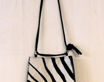 Carol Risley zebra print calfskin bag