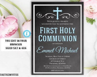 First Communion Invitation Boy Template, First Communion Invitation, First Communion Invitation Printable,First Communion, Template,You Edit