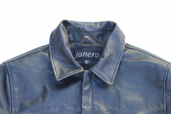 JANERO Vintage 100 Hip Real Jacket Lather Men's Length Coat Black M Size Zip 1561xY