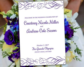 "Fold Over Wedding Program Template Download ""Whimsical Swirls"" Regency Flourish Program Order of Service Half Fold Program Printable"