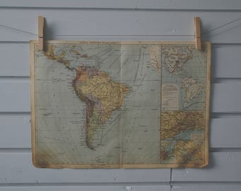 1930's Vintage South America Map
