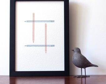 A4 Letterpress print - Pencils - Limited Edition - Hand-printed - Unframed