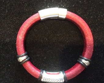 Red leather bracelet with silver embellishment