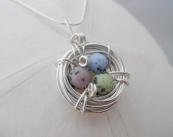 Speckled Birds Nest Necklace Jewelry Pendant Mom Silver Bird Grandmother Charm