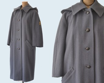 1960s Womens Military Wool Coat with Hood size M