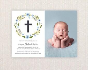 Boys Photo Christening/baptism Invitations. Wreath and Cross. I Customize, You Print.