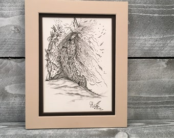 Wall Art, Original Pen & Ink Drawing, Artist Guido E. Orsini, Lady Dressed With Feathers, 6 x 9 Inch Archival Watercolor Paper, Item#