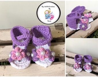 Baby Gladiator Flower Crochet Sandals size 3-6 mos.