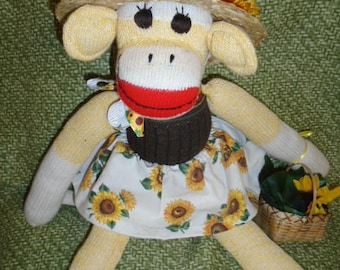 You Are My Sunshine Sock Monkey Doll In Sunflower Outfit/Brown Or Yellow