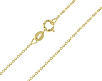 """14K Solid Yellow Gold Rolo Necklace Chain 1.0mm 16-24"""" - Round Cable Link"""