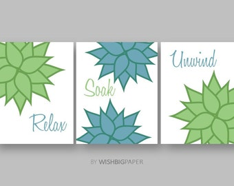 Relax Soak Unwind art-set of three (3) prints.Instant Download.Bathroom Wall Art.Modern Bathroom Art.Agave Print.Agave Decor.Prints. Sets