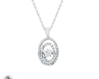 Diamond Pendant, Circle in Circle Pendant, Diamond Circle With Pave Diamonds, White Gold Pendant, Oval Shaped Diamond In a Circle | NEC02047