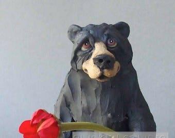 Black Bear Ceramic Animal Sculpture with Flower