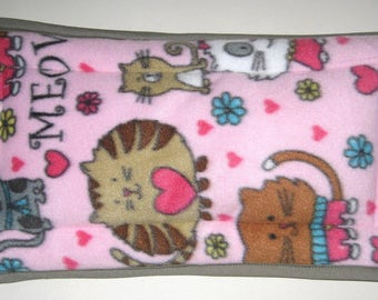 Fleece Pet Carrier Crate Mat Pad Pink and Gray with Brown, White and Gray Cats - Size Large