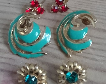 Three pairs of vintage stud earrings