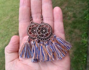 Hoop Earrings Tassel Earrings Bronze Earrings Indian Earrings Boho Earrings Womans Earrings Dangle Earrings