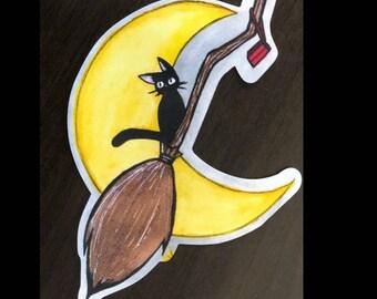 Jiji Watercolor Sticker| Kiki's Delivery Broom