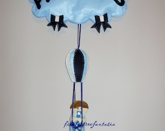 Bow birth, Blue ribbon, cockade birth, gift new mom, birth announcement, cloud in Pannolenci, hot air balloon with baby