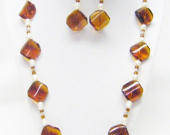 Dark Amber Brown Curved Square Glass Bead Necklace & Earrings Set