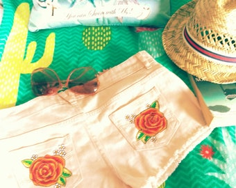 Festival shorts handpainted custom
