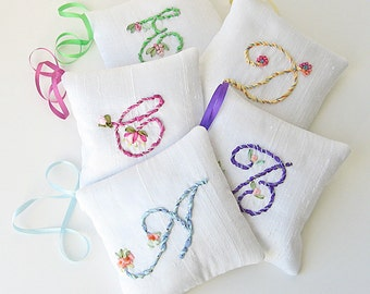Personalized lavender sachet, one made to order sachet, scented silk pillow, silk ribbon embroidery, hand embroidered initial