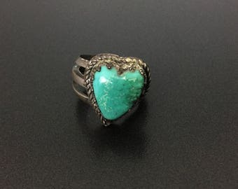 Vintage Southwestern Sterling Silver Turquoise Heart Ring Size 5.25