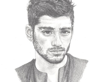 ZAYN MALIK ex-one direction, 1D, Limited Edition art drawing print signed by UK artist