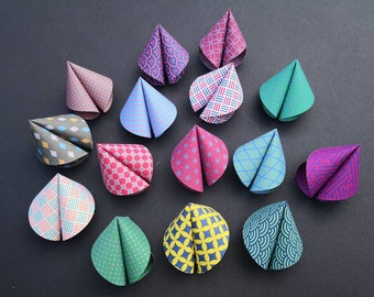 Origami Chinese Fortune Cookies set of 6, with a mix of Japanese inspired geometric designs