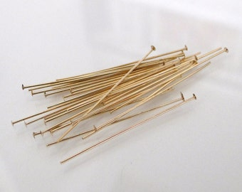 10pcs - 14k Gold Filled 1 inch 24 Gauge Flat Headpins, Made in USA, GF28