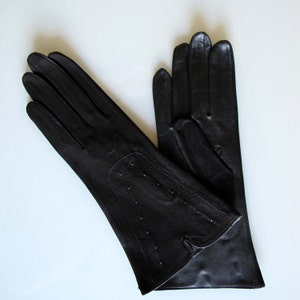 Vintage 1940 black leather gloves/ vintage women black suede & leather gloves / WWII vintage leather gloves  punches steampunk gloves