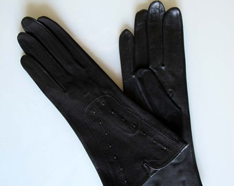 Vintage 1940 black leather gloves/ vintage women black suede & leather gloves / WWII vintage leather gloves  punches steampunk gloves