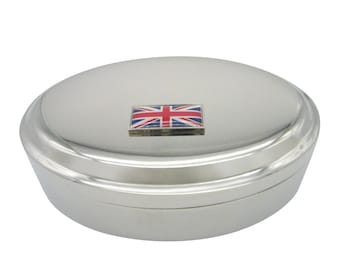 Thin Bordered United Kingdom Union Jack Flag Pendant Oval Trinket Jewelry Box