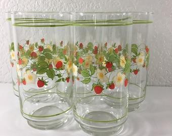 Corelle Strawberry Sundae Drinking Glasses Tumblers by Libbey Set of 5 Vintage 1980s