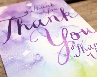 Purple, Blue and Green Watercolour Thank You Card - PACK x 10