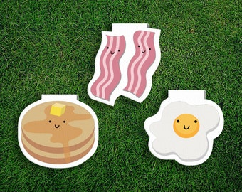 Magnetic Bookmark Set | Breakfast Magnet Bookmarks Pack of 3, Bacon and eggs, Pancakes, Magnetic, Cute, Quirky, Food, Bookmarks, Kawaii.