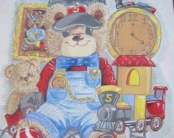 Mr.Bears Trains Art Print for Children 11 x 14