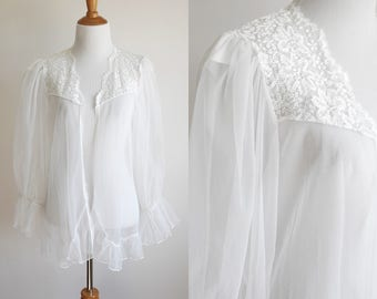 80s Romantic White Sheer and Lace Nightgown Blouse with Ruffle Sleeves and Trim - Open Front Lingerie Top - One Size